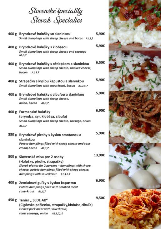 U Sedliaka slovenske speciality